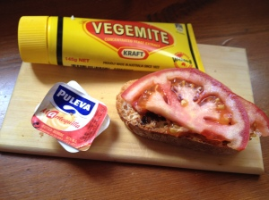 Our last baguettes and vegemite in Spain